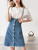 cheap -Women's Shirt - Solid Colored Skirt