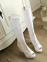 preiswerte -Damen Schuhe Gitter / PU Frühling Sommer Modische Stiefel Stiefel Blockabsatz Peep Toe Kniehohe Stiefel Weiß / Schwarz / Beige / Party & Festivität