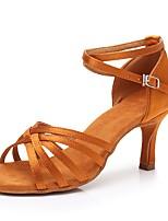 Недорогие -Жен. Обувь для латины Сатин На каблуках Тонкий высокий каблук Персонализируемая Танцевальная обувь Темно-коричневый