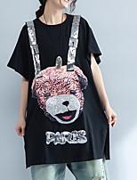 cheap -Women's Plus Size Cotton T-shirt - Animal