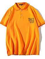 cheap -Men's Basic Cotton Polo - Letter Print Shirt Collar / Short Sleeve