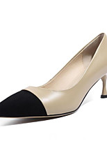 baratos -Mulheres Sapatos Pele Napa Primavera Conforto Saltos Salto Agulha Cinzento / Amêndoa