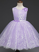 cheap -Princess Dress Flower Girl Dress Girls' Movie Cosplay A-Line Slip Cosplay Purple / Pink Dress Halloween Carnival Masquerade Tulle Lace Polyester