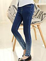 cheap -Kids Girls' Street chic Striped Hole Jeans