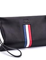 economico -borsa da uomo con nappa in pelle con cerniera rossa / blu