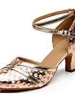 Недорогие -Жен. Обувь для модерна Синтетика На каблуках Тонкий высокий каблук Танцевальная обувь Золотой / Серебряный / Красный