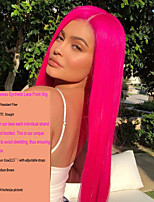 cheap -Synthetic Lace Front Wig / Cosplay & Costume Wigs Straight Middle Part Synthetic Hair 22-26 inch Heat Resistant / Women / Fashion Rose Pink Wig Women's Long Lace Front / Yes