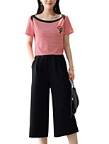 cheap -Women's Basic Puff Sleeve Set - Solid Colored, Pleated Pant