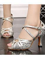 baratos -Mulheres Sapatos de Dança Latina Sintéticos Salto Salto Grosso Sapatos de Dança Dourado / Prata