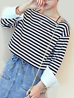 cheap -women's going out t-shirt - striped boat neck