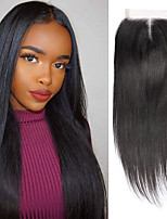 cheap -Yavida Malaysian Hair 4x4 Closure Straight Middle Part Swiss Lace Human Hair Women's Woven / Best Quality / Hot Sale Christmas Gifts / Wedding Party / Military Ball / African American Wig