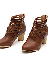 Недорогие -Жен. Обувь Искусственная кожа Наступила зима Удобная обувь / Ботильоны Ботинки Для прогулок На толстом каблуке Закрытый мыс Ботинки Темно-коричневый