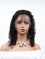 cheap -Remy Human Hair Full Lace Wig Brazilian Hair Afro Curly Wig Asymmetrical Haircut 130% / 150% Women / Easy dressing / Sexy Lady Black 8-14 Human Hair Lace Wig