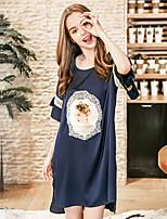 cheap -Women's Round Neck Satin & Silk Pajamas Geometric