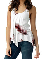 cheap -Women's Basic Slim T-shirt - Solid Colored / Floral Deep U
