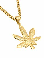 cheap -Men's Cuban Link Pendant Necklace / Chain Necklace - Titanium Steel, Stainless Maple Leaf Artistic, European, Hip-Hop Cool Gold, Silver 70 cm Necklace Jewelry 1pc For Gift, Street