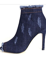 cheap -Women's Shoes Denim Fall Comfort / Fashion Boots Boots Stiletto Heel Booties / Ankle Boots Black / Blue