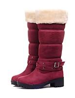 Недорогие -Жен. Обувь Полиуретан Наступила зима Удобная обувь Ботинки Блочная пятка Черный / Синий / Винный