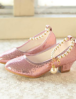 cheap -Girls' Shoes PU(Polyurethane) Spring / Fall Flower Girl Shoes Heels Pearl / Sequin for Kids Yellow / Silver / Pink