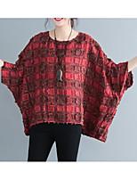 cheap -Women's Basic / Street chic T-shirt - Plaid Patchwork