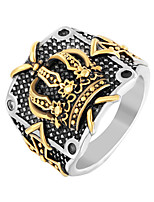 cheap -Men's Sculpture Statement Ring - Stainless Steel Punk, Trendy, Hip-Hop 8 / 9 / 10 Gold / Silver For Street / Club