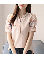 cheap -Women's Going out Shirt - Solid Colored V Neck / Summer