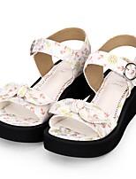 preiswerte -Schuhe Niedlich Prinzessin Keilabsatz Schuhe Muster / Schleife 5 cm CM Weiß / Blau Für PU