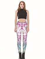 baratos -Mulheres Básico Legging - Floral Cintura Média