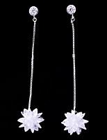 abordables -Mujer Zirconia Cúbica Elegante Pendientes cortos / Pendientes colgantes - Simple, Moda Blanco Para Boda / Cumpleaños