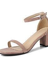 cheap -Women's Shoes Suede Spring & Summer Comfort Heels Chunky Heel Yellow / Pink / Almond