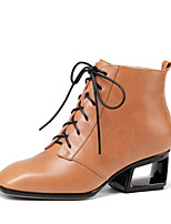 baratos -Mulheres Sapatos Pele Napa Outono & inverno Botas da Moda Botas Salto Robusto Ponta quadrada Botas Curtas / Ankle Preto / Laranja
