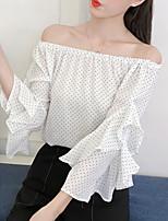 Недорогие -Жен. На выход Блуза С открытыми плечами Горошек