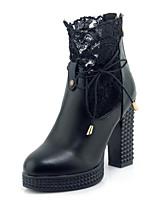 Недорогие -Жен. Обувь Синтетика Наступила зима Модная обувь Ботинки На толстом каблуке Круглый носок Ботинки Белый / Черный / Для вечеринки / ужина