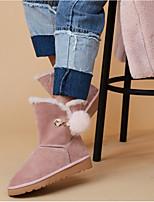 Недорогие -Жен. Обувь Овчина Зима Удобная обувь Ботинки На плоской подошве Черный / Темно-русый / Светло-Розовый