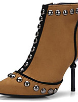 cheap -Women's Shoes Suede Spring &  Fall Bootie Boots Stiletto Heel Pointed Toe Booties / Ankle Boots Rivet Black / Brown / Party & Evening