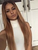 cheap -Remy Human Hair Lace Front Wig Wig Brazilian Hair Silky Straight Layered Haircut 130% Density Ombre Hair / Natural Hairline Auburn Women's Long Human Hair Lace Wig
