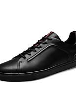 Недорогие -Муж. Наппа Leather Весна Удобная обувь Кеды Черный