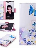 economico -Custodia Per Huawei Honor 10 / Honor 7A A portafoglio / Porta-carte di credito / Con supporto Integrale Farfalla Resistente pelle sintetica per Honor 8 / Honor 7X / Honor 7C(Enjoy 8)