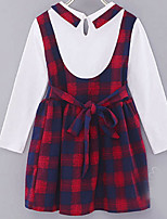 cheap -Kids Girls' Plaid / Patchwork 3/4 Length Sleeve Dress