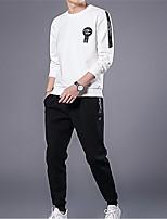 economico -Per uomo Manica lunga Activewear Set Tinta unita Rotonda