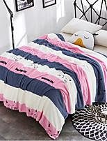 baratos -Velocino de Coral, Estampa Pigmentada Listrado Algodão / Poliéster cobertores