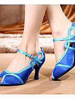 baratos -Mulheres Sapatos de Dança Latina Seda Salto Salto Grosso Sapatos de Dança Azul