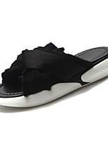 Недорогие -Жен. Обувь Полиуретан Лето Удобная обувь Тапочки и Шлепанцы На плоской подошве Круглый носок Белый / Черный