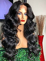 cheap -Virgin Human Hair Full Lace Wig Brazilian Hair Wavy Wig Deep Parting 150% With Baby Hair / Women / Hot Sale Black Women's Long Human Hair Lace Wig