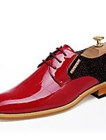 Недорогие -Муж. Лакированная кожа Осень Удобная обувь Туфли на шнуровке Черный / Красный