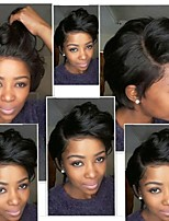 cheap -Remy Human Hair Full Lace Wig Brazilian Hair Body Wave Wig Bob Haircut / Layered Haircut 130% Density Natural Hairline / Side Part / African American Wig Natural Women's Short Human Hair Lace Wig