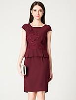 preiswerte -Damen Grundlegend / Elegant Hülle Kleid Solide / Blumen Übers Knie