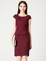 cheap -MARCOBOR Women's Basic / Elegant Sheath Dress - Solid Colored / Floral