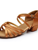cheap -Women's Latin Shoes Satin Sandal / Heel Splicing Thick Heel Customizable Dance Shoes Brown