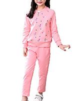 Недорогие -Дети Девочки Классический Однотонный Длинный рукав Набор одежды
